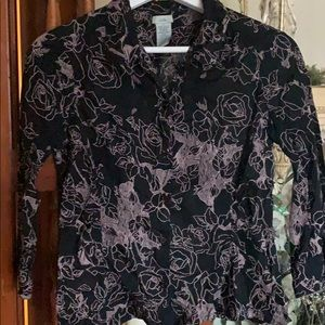 Anthropologie Odille black & floral button down